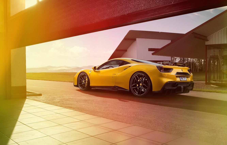 Photo wallpaper car, yellow, track, Ferrari, Ferrari, yellow, Rosso, Novitec, 488 GTB