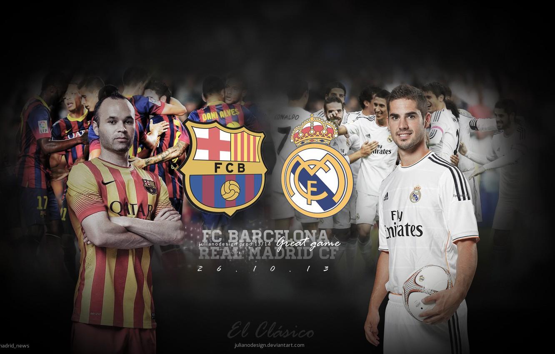 Photo wallpaper Barcelona, Real Madrid, Iniesta, the classic, Isco