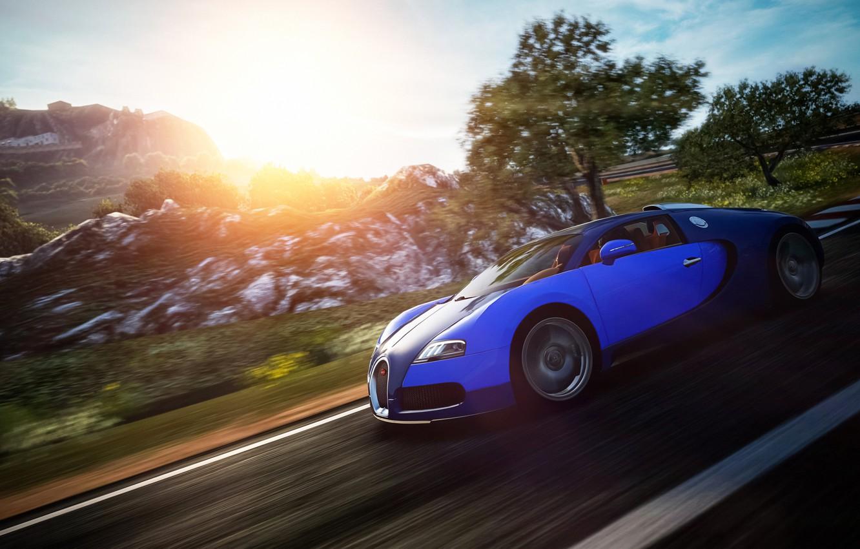 Photo wallpaper Bugatti, Veyron, in motion, Gran Turismo 6