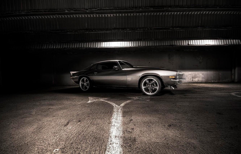 Photo wallpaper light, grey, Chevrolet, Camaro, dark