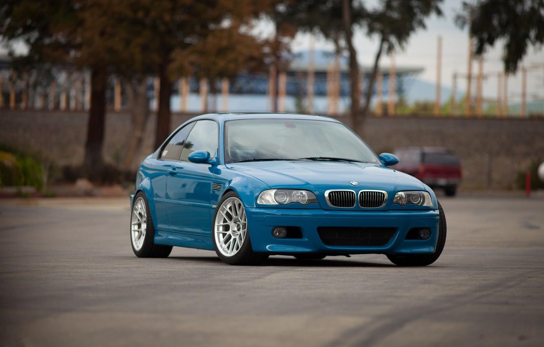 Photo wallpaper trees, blue, reflection, bmw, BMW, front view, blue, e46