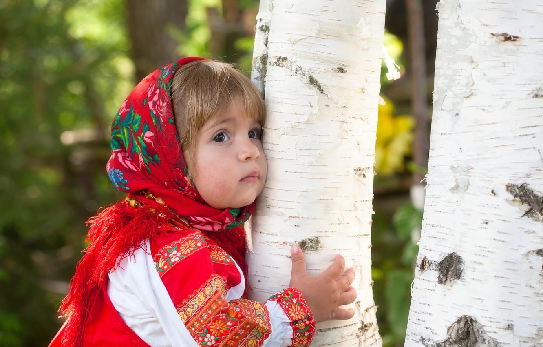 Photo wallpaper summer, dress, girl, outfit, Russia, birch, grove, child