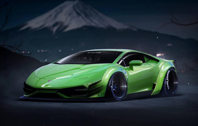 Photo wallpaper Lamborghini, Power, Green, Tuning, Performance, Supercar, Liberty, Huracan, LP640-4, Walk, by Khyzyl Saleem