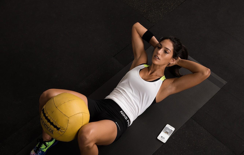 Photo wallpaper brunette, workout, abs, crossfit, Tabata