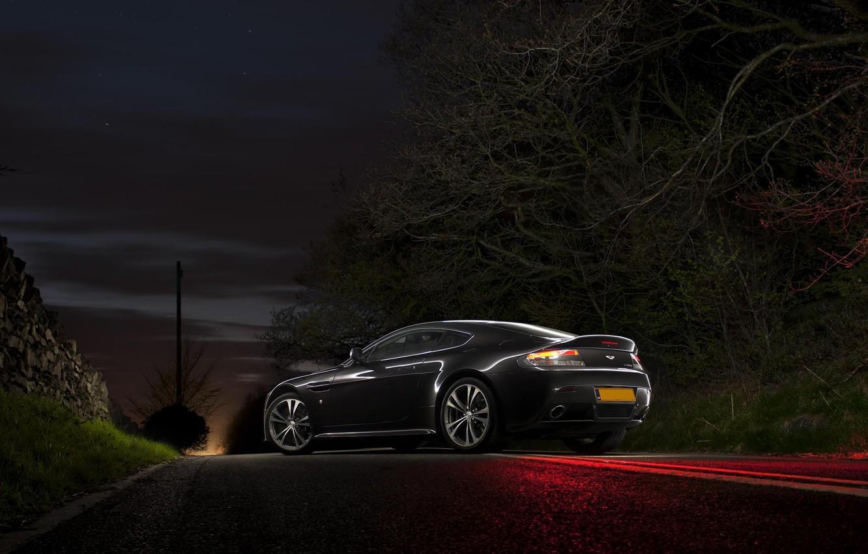 Photo wallpaper Aston Martin, Vantage, Night, V12, Aston Martin, Road