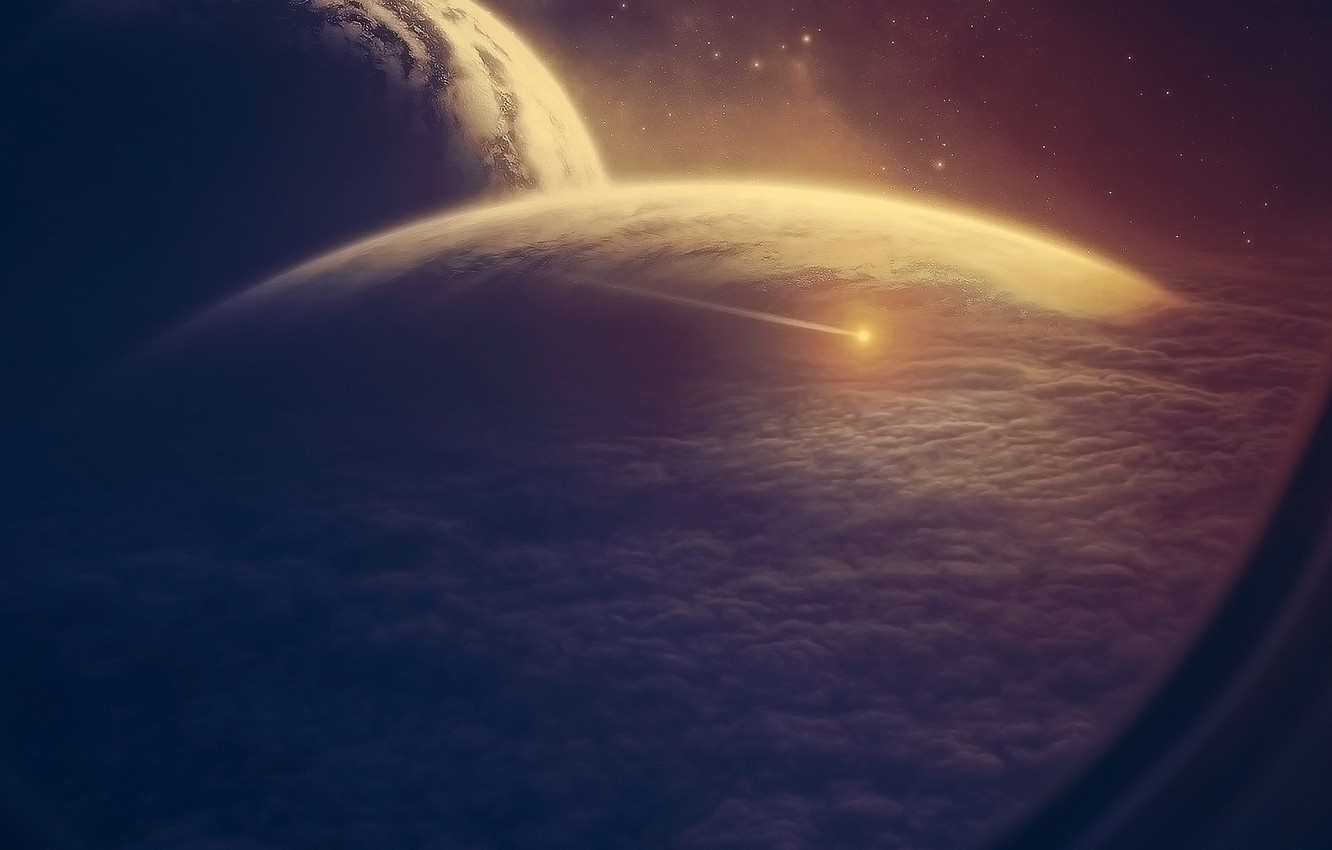 Photo wallpaper space, clouds, ship, planet, asteroid, the window