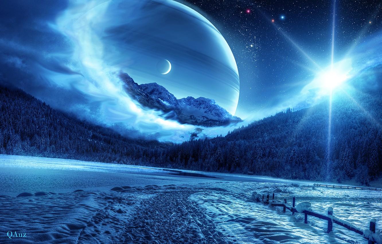 Photo wallpaper winter, forest, space, planet, QAuZ