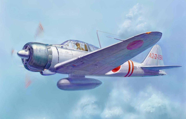 Photo wallpaper war, art, painting, aviation, ww2, japanese fighter, Mitsubishi A6M zero