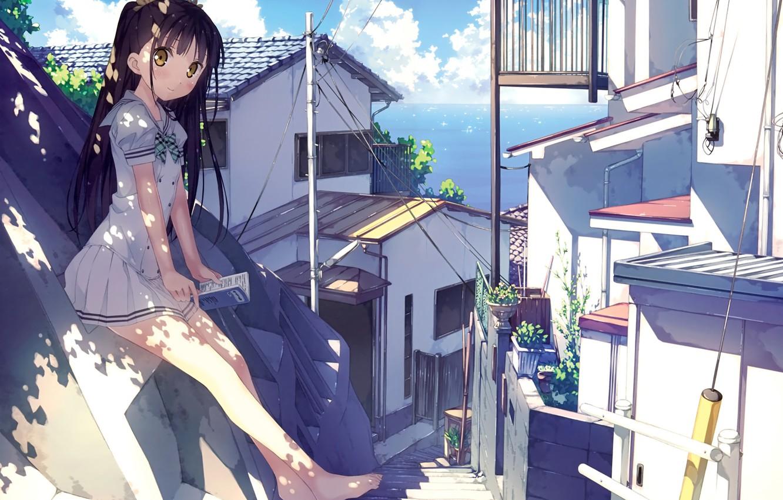 Photo wallpaper girl, the city, mountain, book, nenme-no-houkago