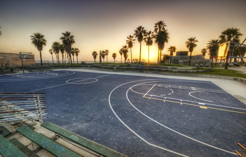 Photo wallpaper sunset, california, basketball, sunset, CA, usa, los angeles, Los Angeles, Venice Beach