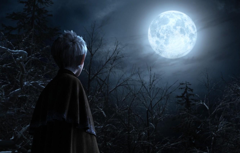 Photo wallpaper trees, night, the moon, cartoon, keepers, Jack, dreams, Ice