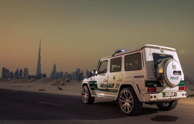 Photo wallpaper Mercedes-Benz, Brabus, Car, Dubai, Police, AMG, G63