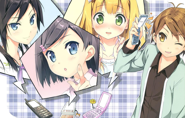 Photo wallpaper face, blush, phone, friends, students, tsukiko tsutsukakushi, ouji to warawanai neko, youto uokodera, azusa then …
