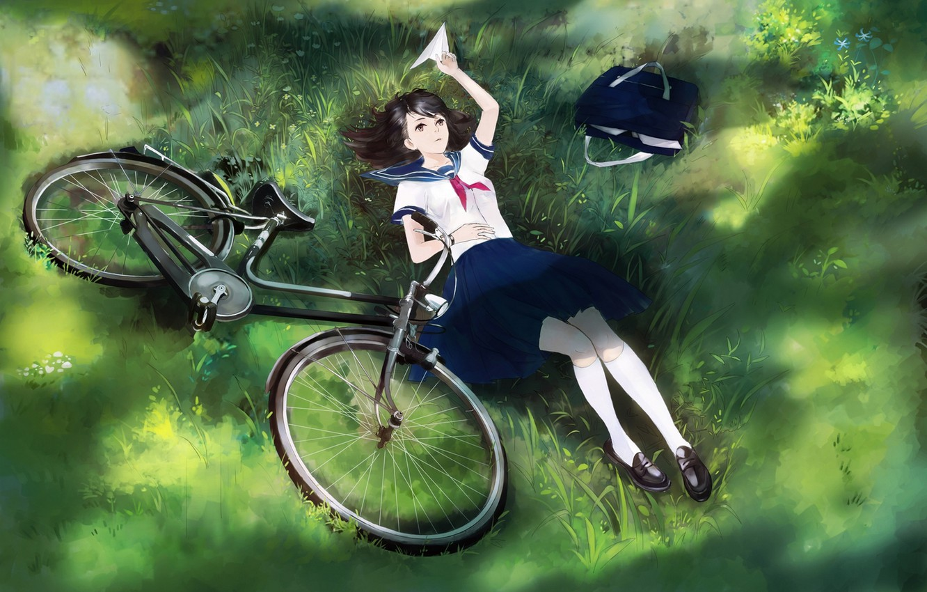 Photo wallpaper girl, bike, anime, art, form, schoolgirl, bag, airplane, yong kit lam