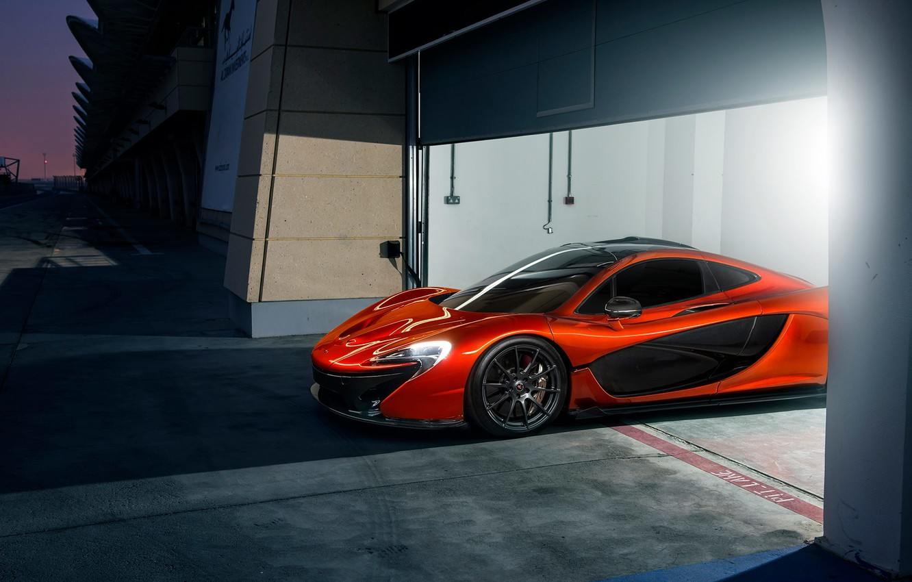 Photo wallpaper McLaren, Orange, Race, Front, Beauty, Supercar, Track, Ligth, Nigth