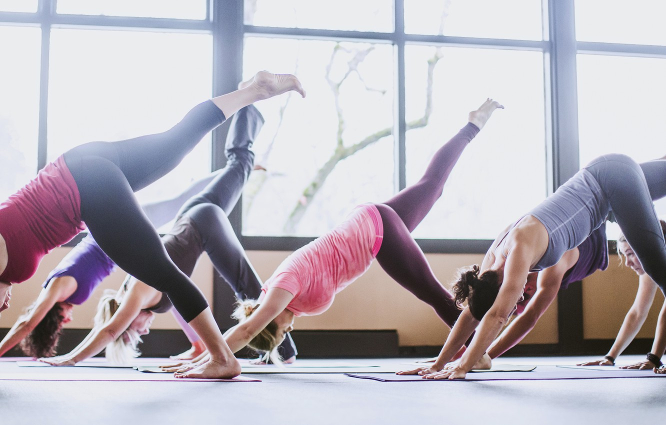 Photo wallpaper group, physical activity, yoga class