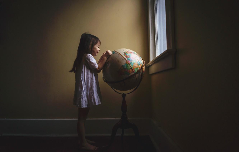 Photo wallpaper room, window, girl, globe
