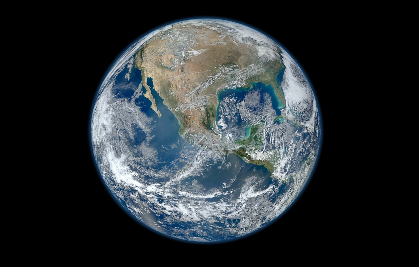 Photo wallpaper space, planet, Earth, continents, hemisphere, oceans