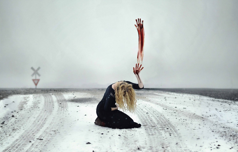 Photo wallpaper field, girl, snow, sign, blood, hand