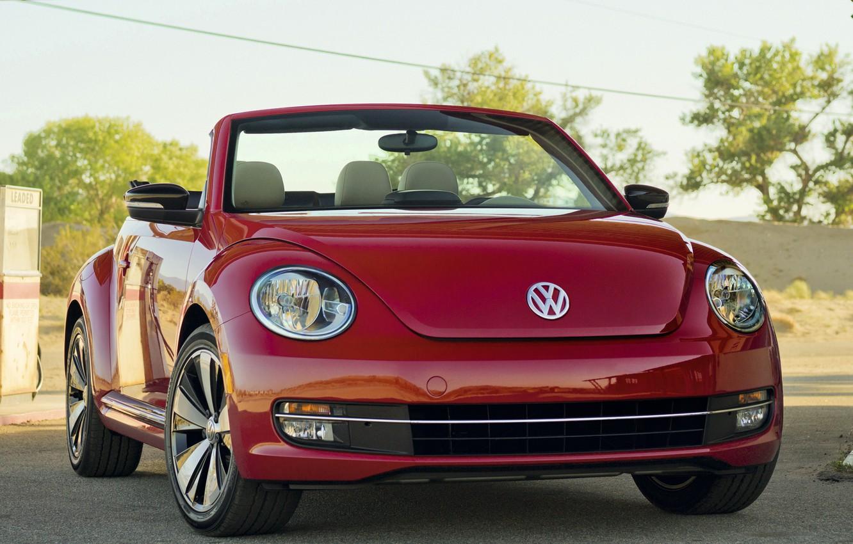 Photo wallpaper red, Volkswagen, convertible, Beetle