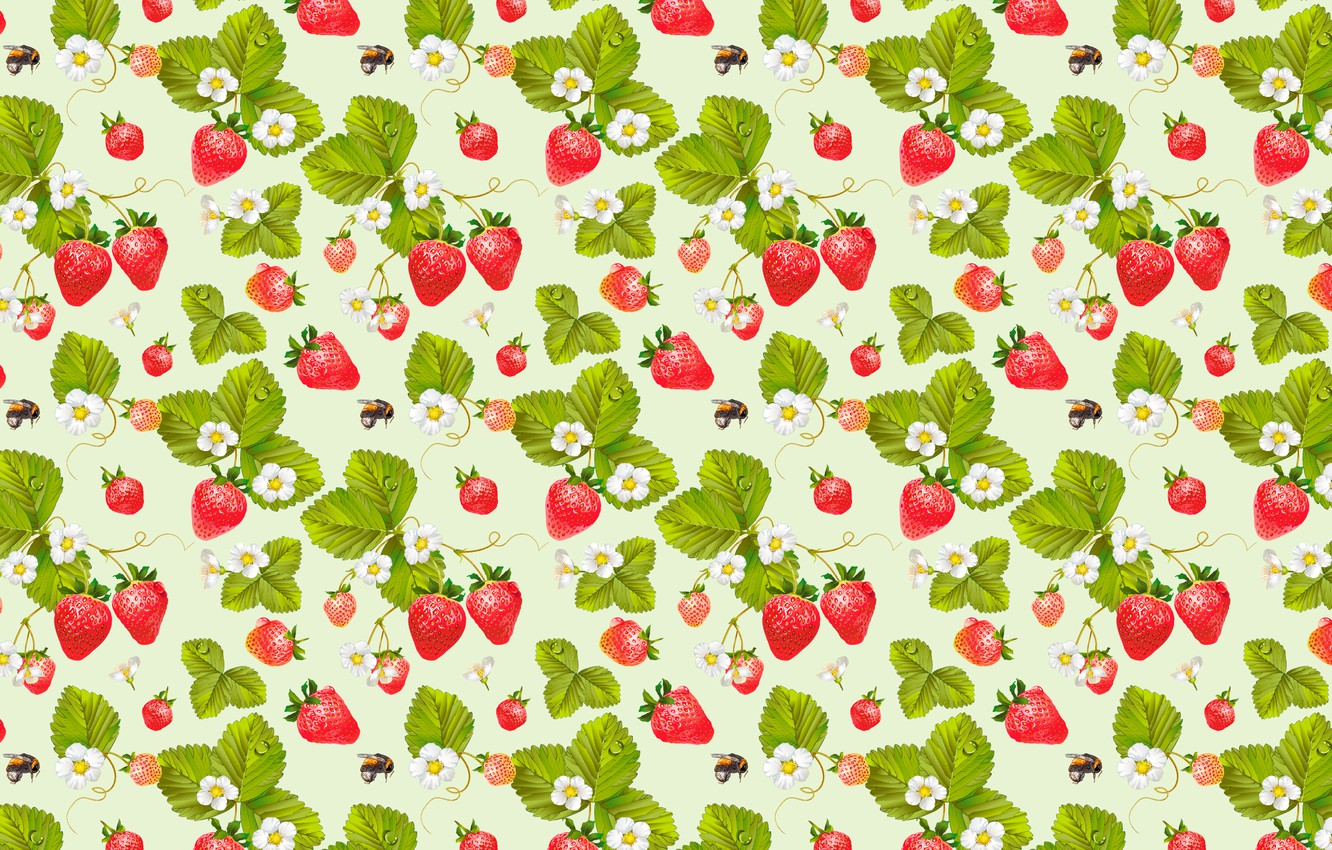 Photo wallpaper berries, pattern, strawberry, bees