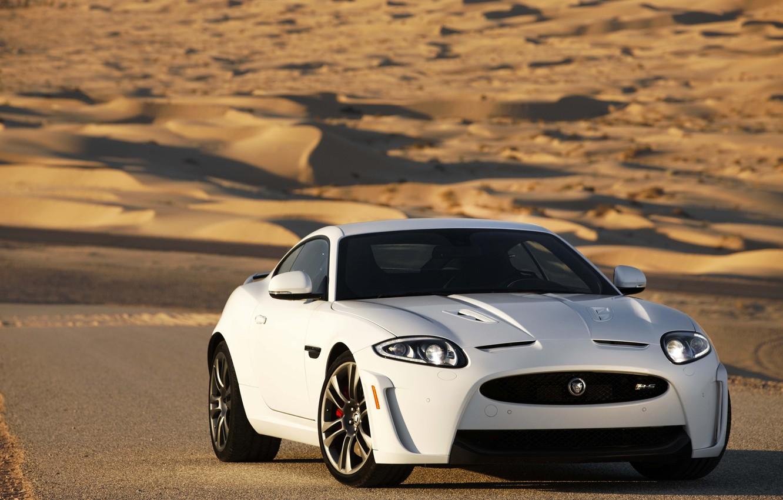 Photo wallpaper Jaguar, white, Coupe, XKR-S