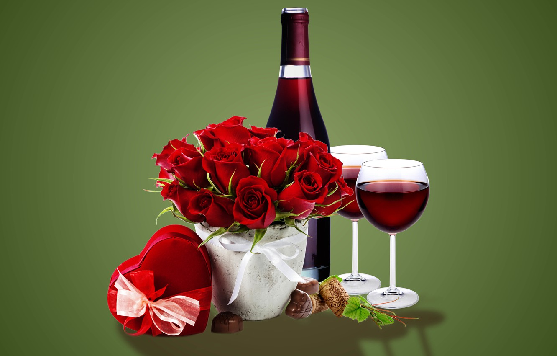 Photo wallpaper gift, wine, roses, glasses, glass, wine, flowers, romantic, gift, roses