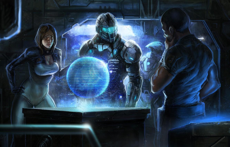 Photo wallpaper girl, planet, art, armor, guys, shepard, Mass Effect, miranda lawson, command center