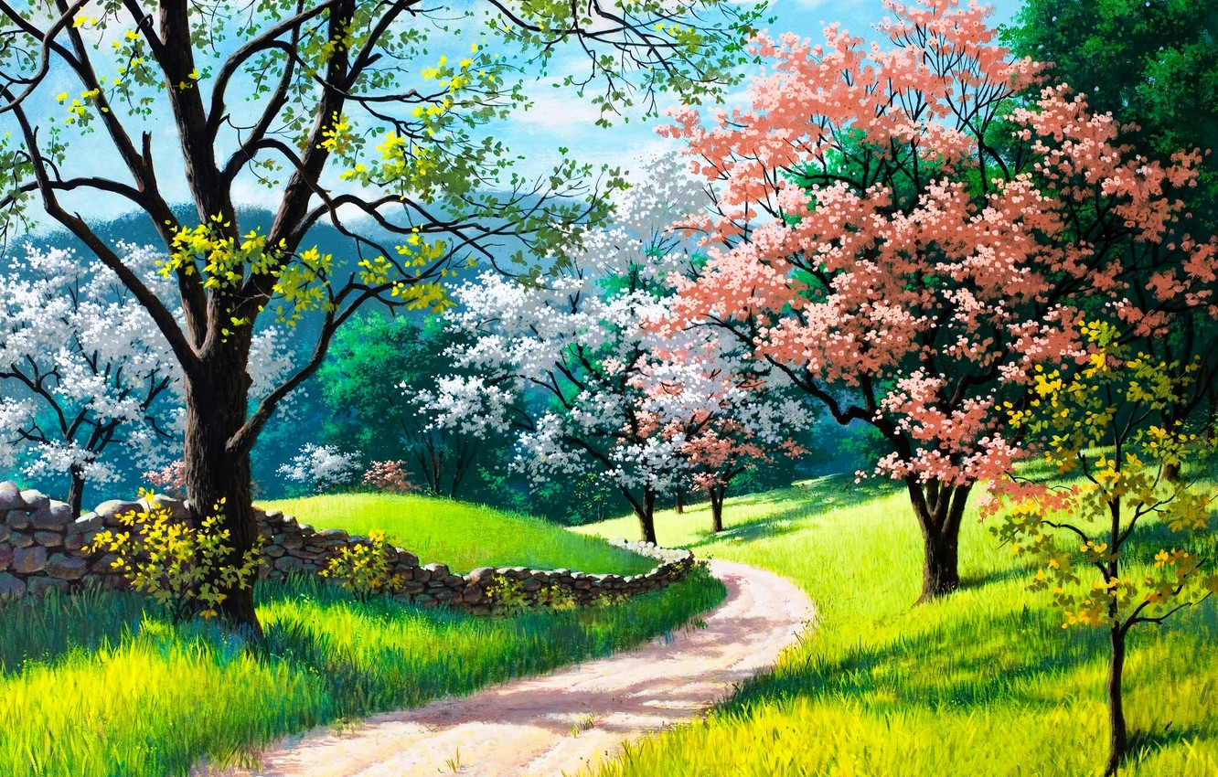 Photo wallpaper road, grass, trees, landscape, nature, picture, spring, flowering