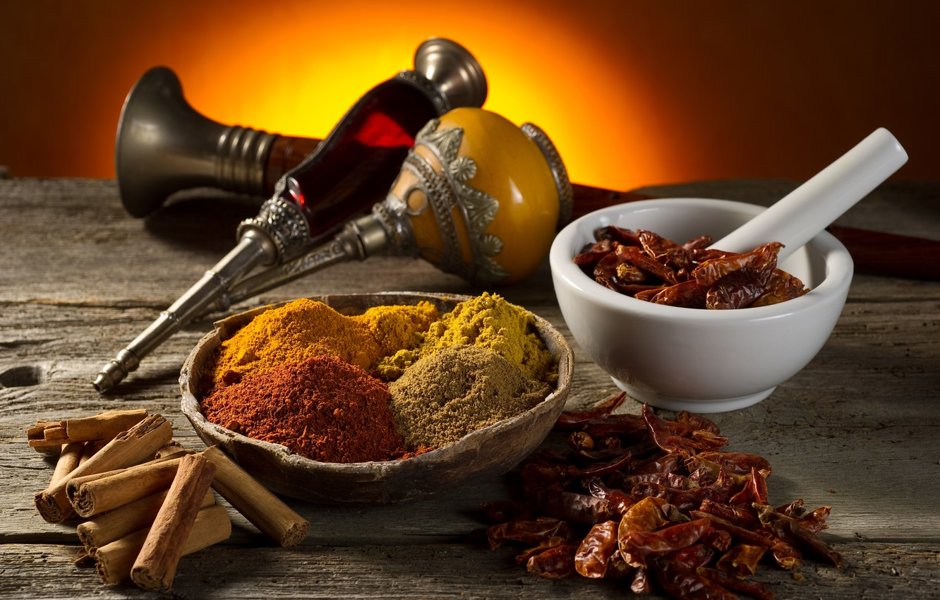 Photo wallpaper table, cinnamon, spices, mortar, red pepper, curry