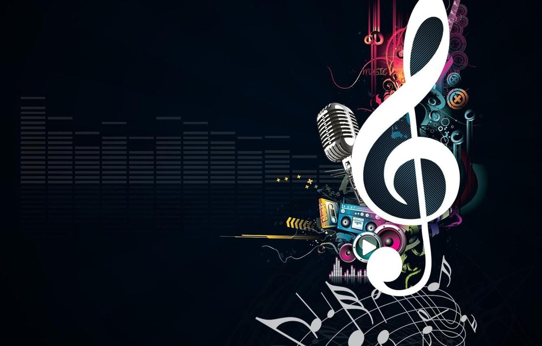 Photo wallpaper Music, microphone, treble clef