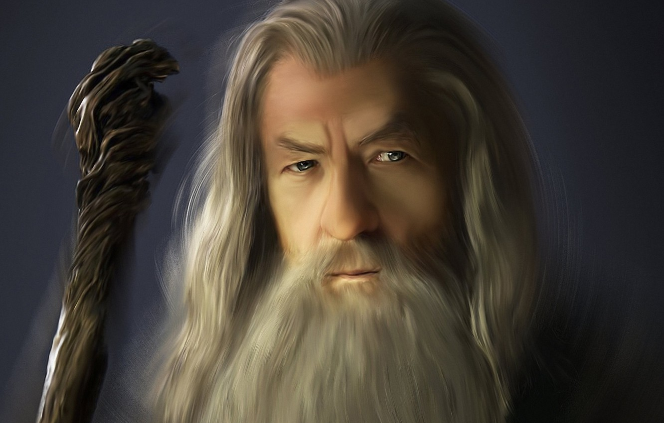 Photo wallpaper grey, the Lord of the rings, art, MAG, the old man, staff, beard, Gandalf, the …