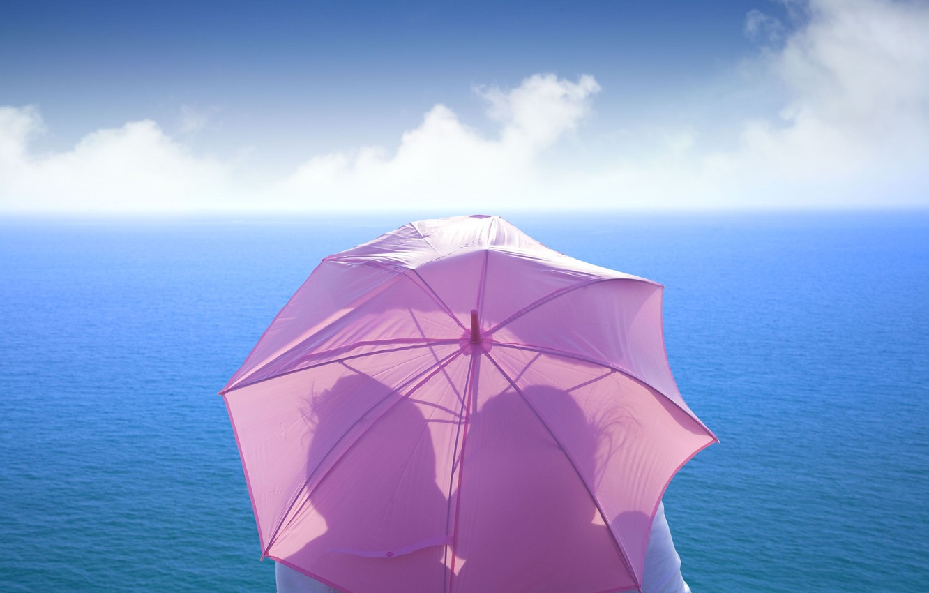 Photo wallpaper sea, the sky, girl, love, umbrella, background, pink, widescreen, Wallpaper, mood, feelings, kiss, umbrella, pair, …
