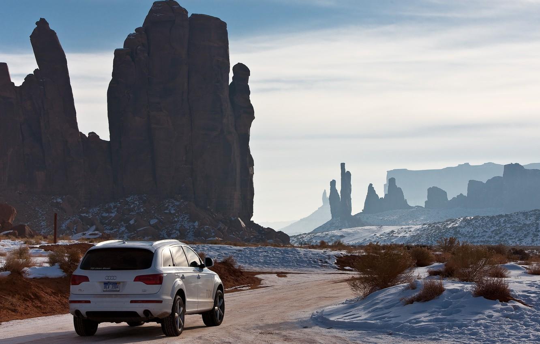 Photo wallpaper winter, road, the sky, snow, landscape, rocks, Audi, auto, landscape, audi q7