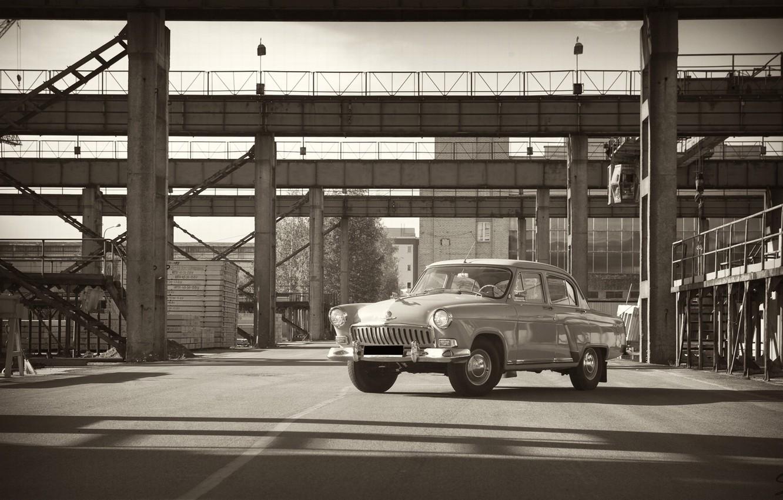 Photo wallpaper machine, retro, Wallpaper, plant, gas, Volga