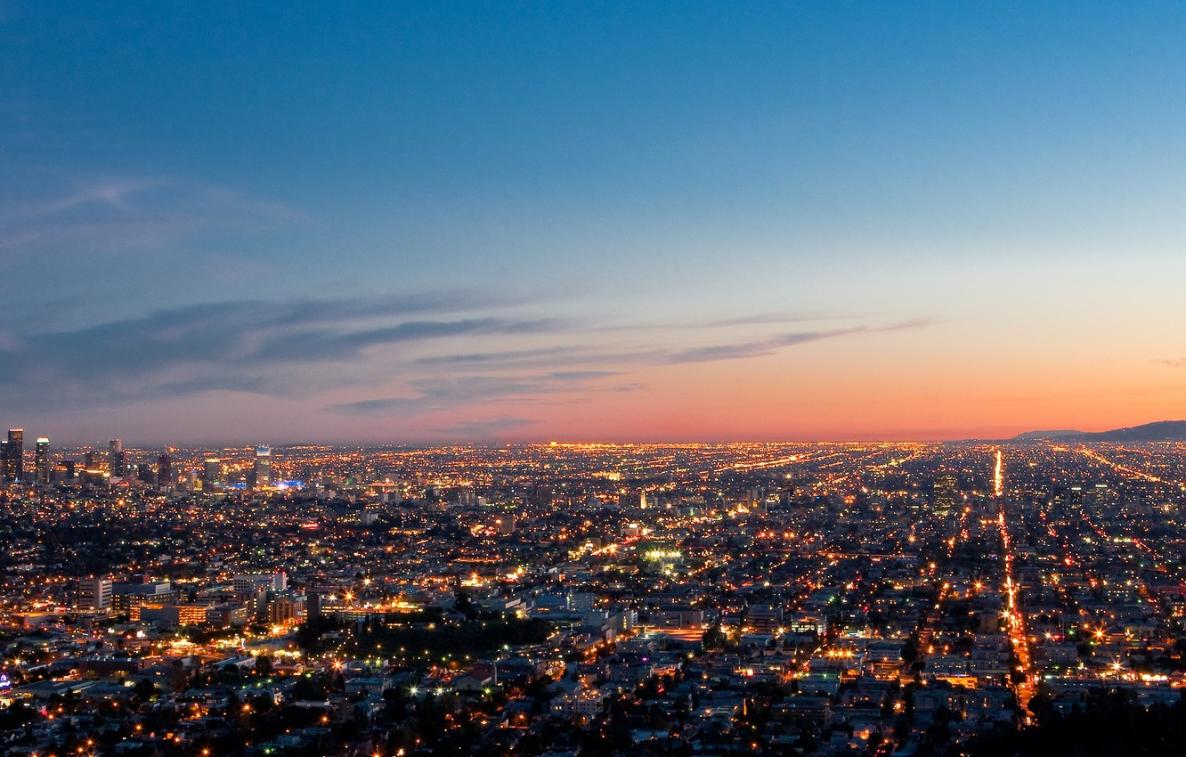 Photo wallpaper panorama, Los Angeles, evening lights