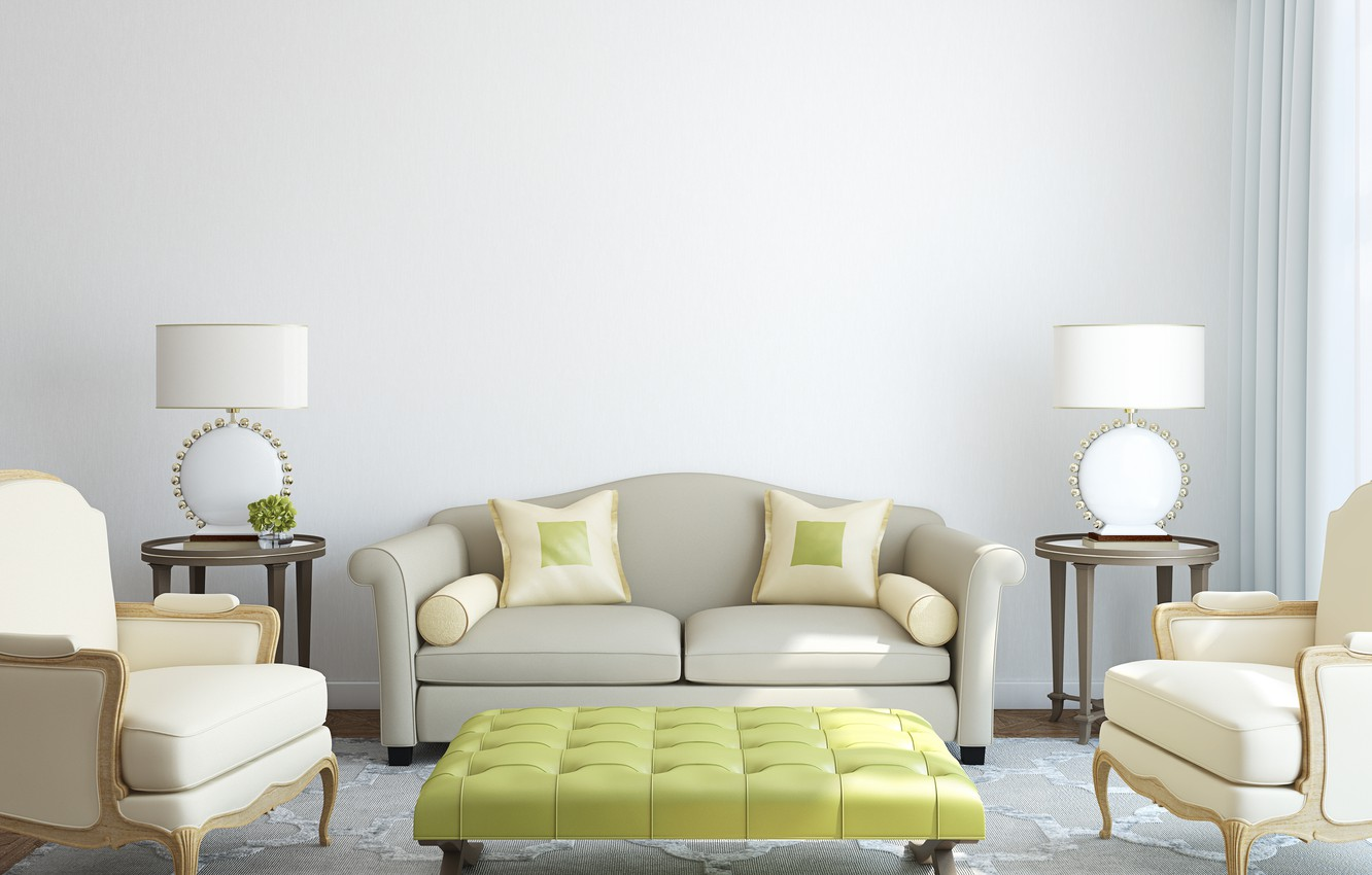 Photo wallpaper room, sofa, carpet, pillow, chairs, lamps, tables