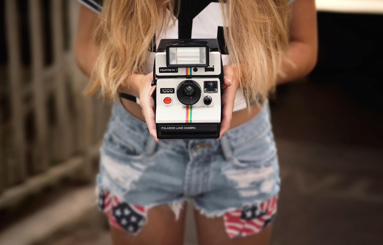 Photo wallpaper shorts, camera, hands, Polaroid