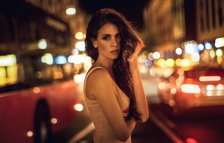 Photo wallpaper city, glare, model, colors, brunette, light, beautiful, the beauty, road, cars, night, street, bokeh, germany, …