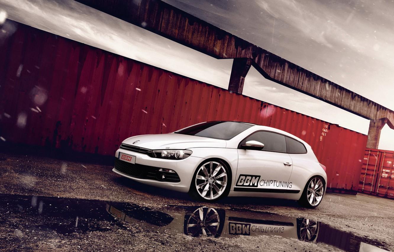 Photo wallpaper snow, reflection, volkswagen, puddle, tuning, Volkswagen, scirocco