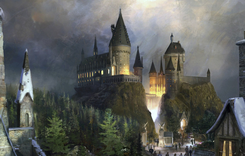 Photo wallpaper castle, fiction, fantasy, hogwarts, Hogwarts, Harry Potter, Harry Potter