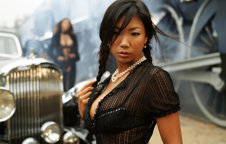 Photo wallpaper chest, retro, girls, Japanese, the engine, brunette, Asian, car, model, Krista Kelly, Krista Kelly, Hiromi …