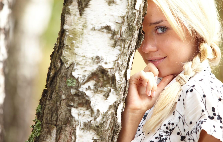 Photo wallpaper Girl, dress, blonde, birch, pigtail