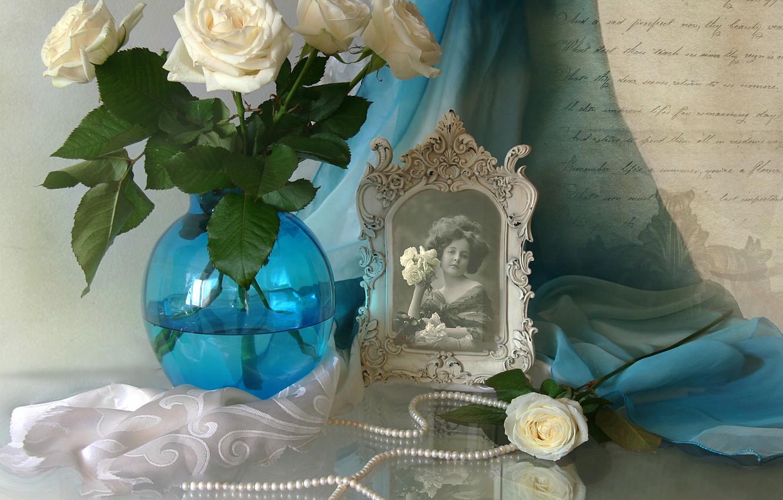 Photo wallpaper letter, retro, photo, portrait, roses, texture, necklace, girl, vintage