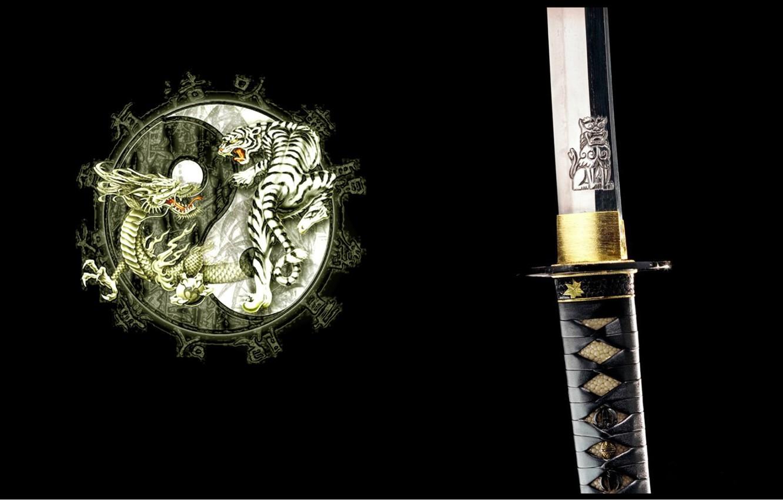Photo wallpaper tiger, dragon, katana, Japan, emblem, black background, arm, Ying-Yang