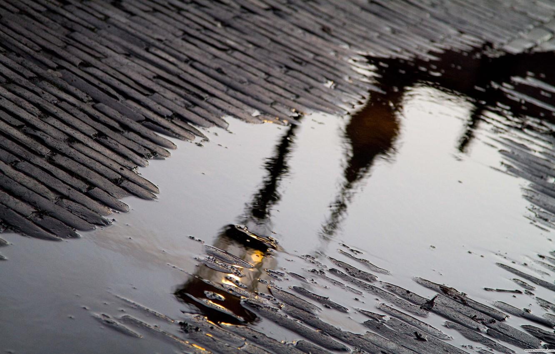 Photo wallpaper reflection, rain, puddle, lantern, bridge
