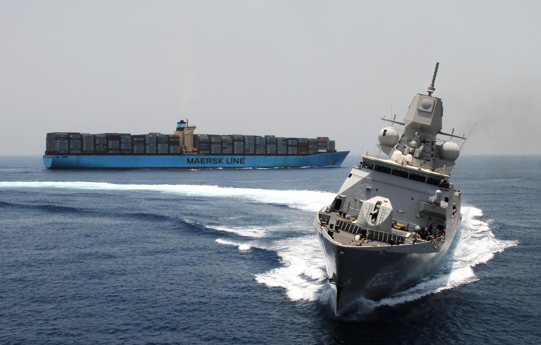 Photo wallpaper sea, military, weapon, bow, ships, list, maersk, F805, conteinership, fregat, circulation