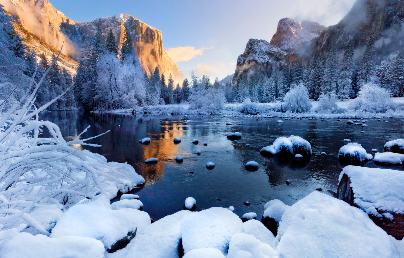 Photo wallpaper winter, forest, snow, sunset, mountains, fog, river, ice, Landscapes, Yosemite National Park