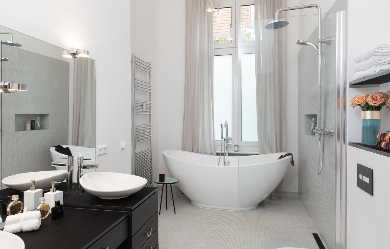 Photo wallpaper design, bath, sink