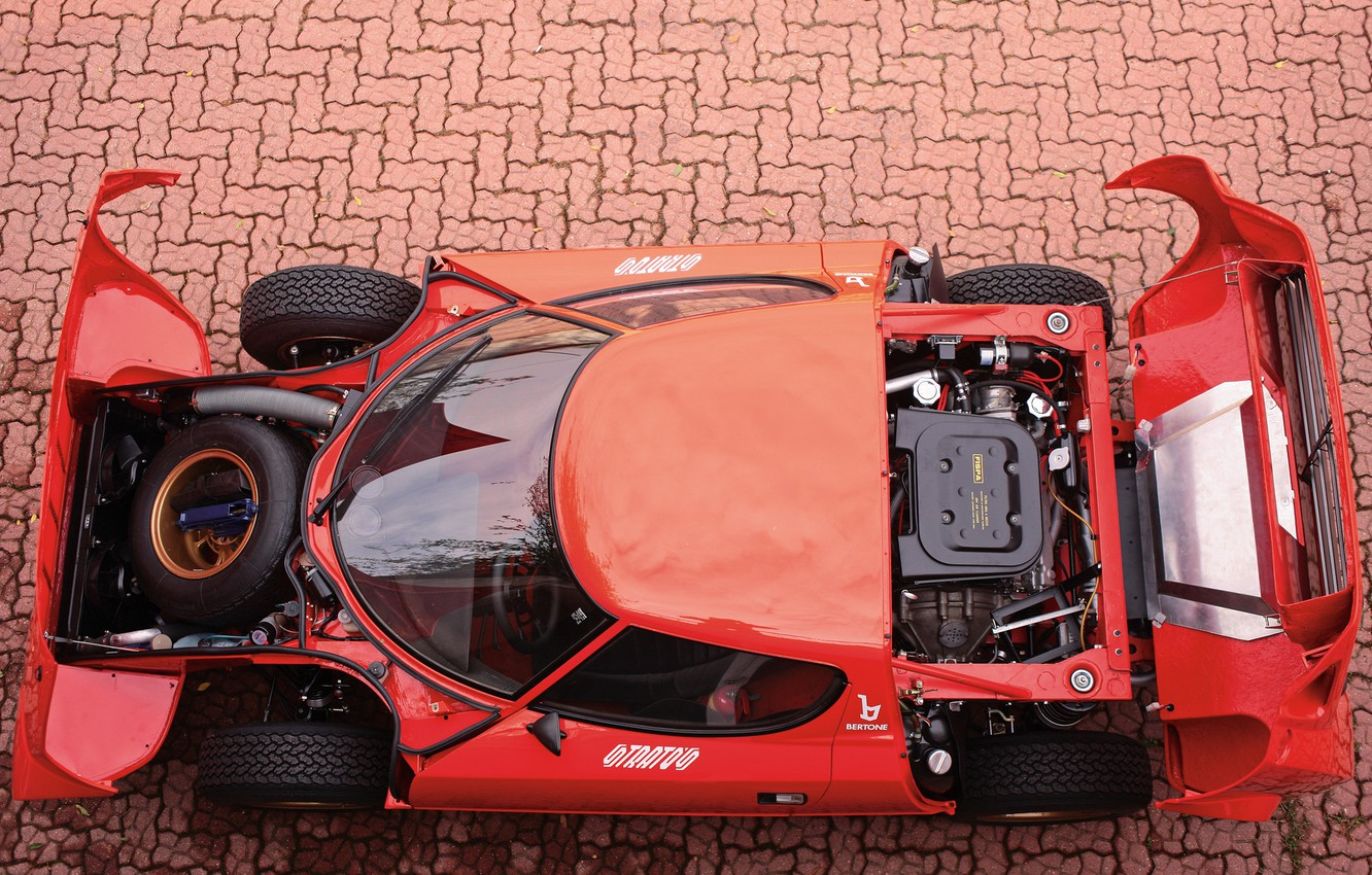 Photo wallpaper Outdoor, The view from the top, Lancia, 1973, Classic cars, Engine compartment, Stratos, High Fidelity, …
